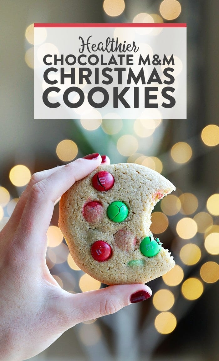 Spread a little holiday cheer with a cookie tin full of these Healthier M&M Cookies! These cookies are a must for the holiday season.