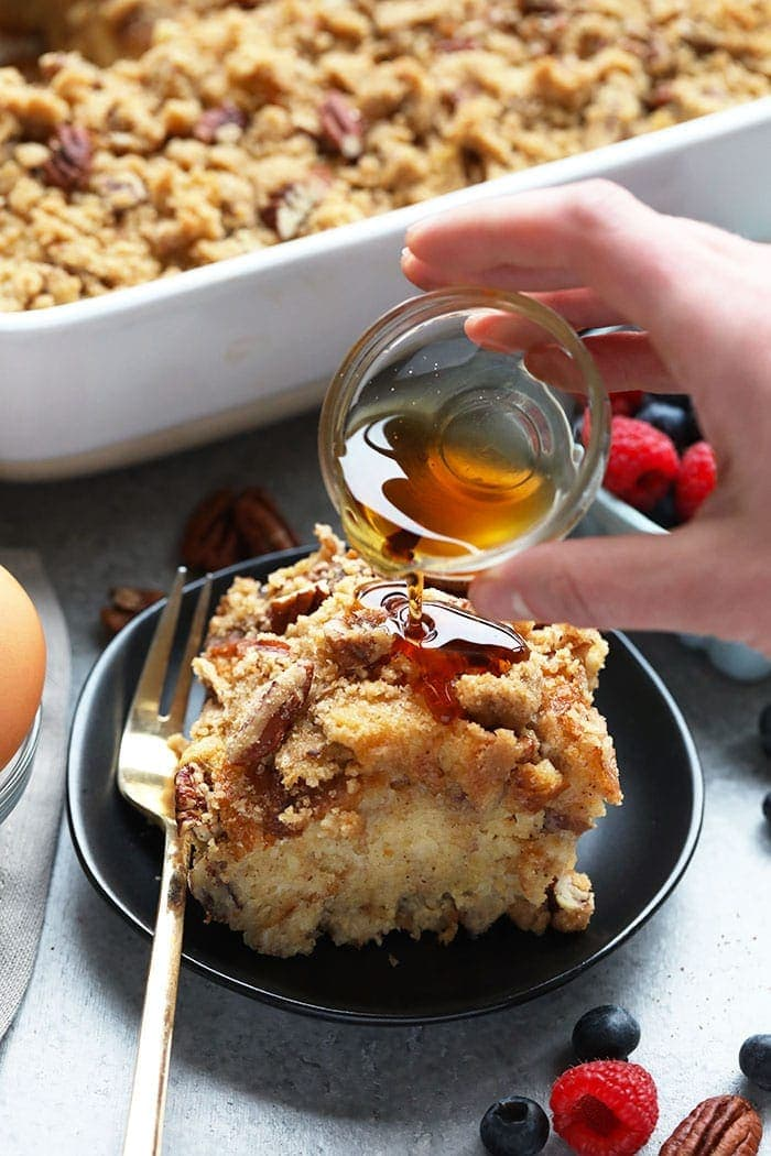 Prep this  Maple Pecan Overnight French Toast Bake with Sourdough the night before so that you can serve your guests a healthy warm meal in the morning. Everyone will be asking for the recipe!