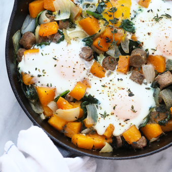 Butternut Squash and Sausage Breakfast Hash with Baked Eggs