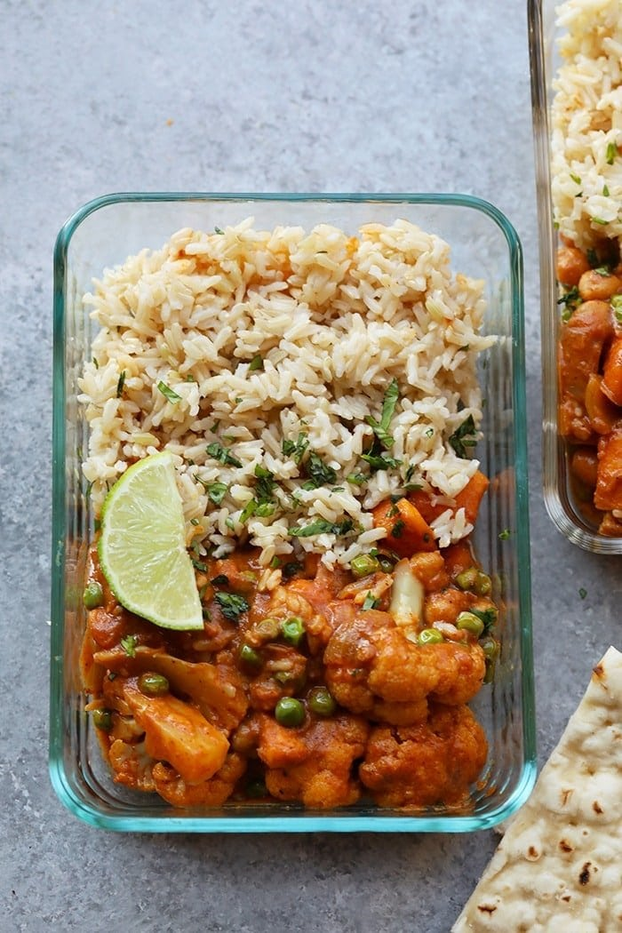 Tikka masala in a meal prep container