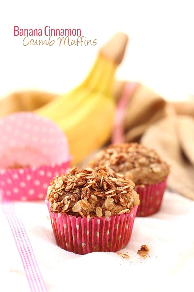 Banana cinnamon crumb muffins in polka dot muffin wrappers.