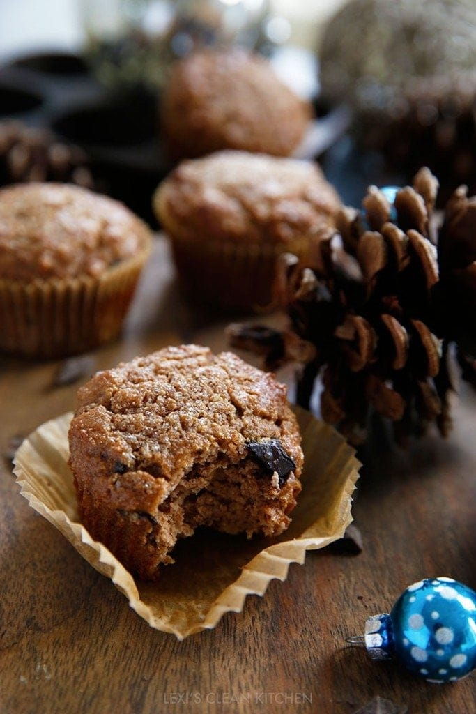 Gingerbread muffin with a bite taken out of it.