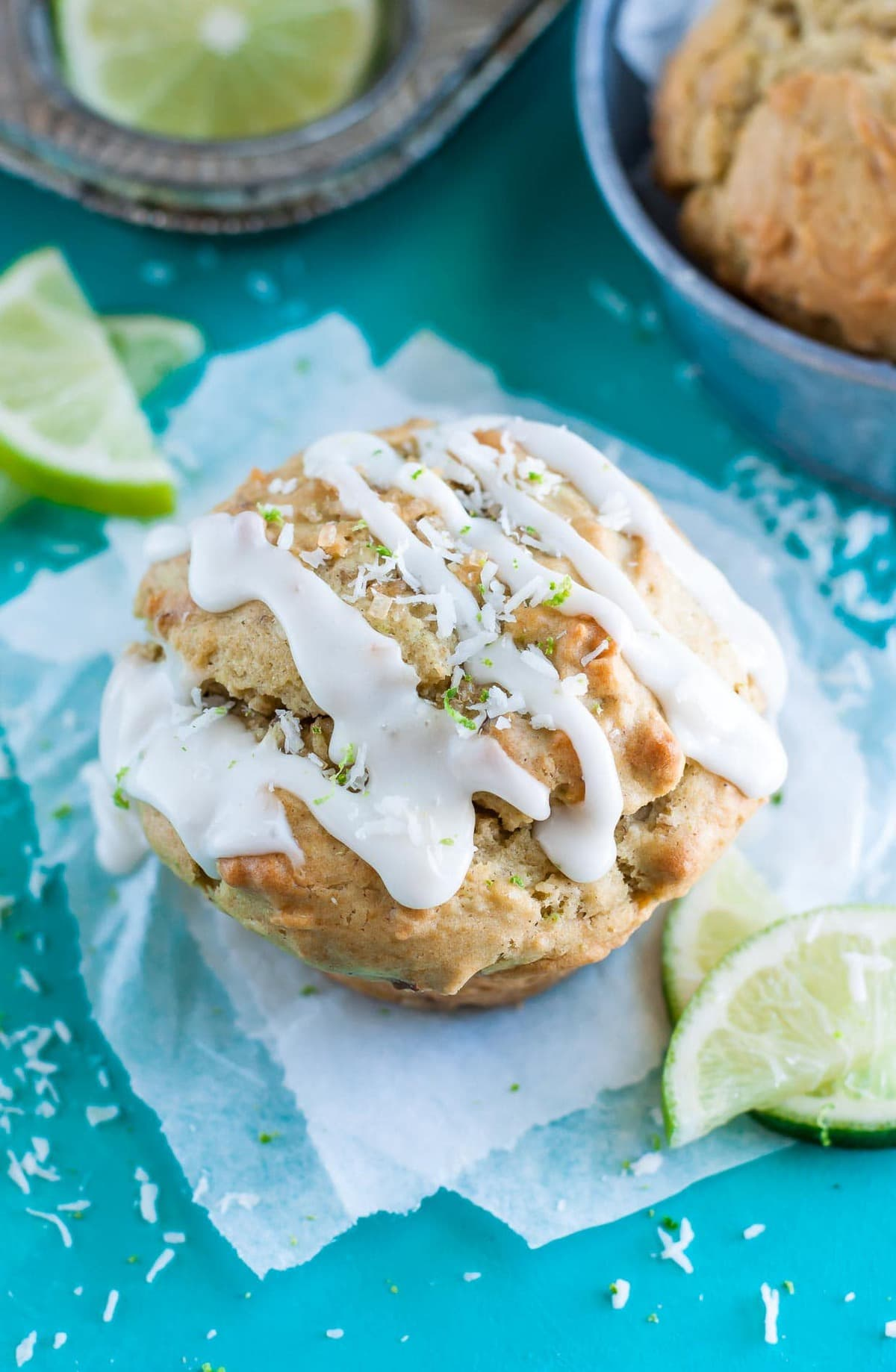 Coconut lime avocado muffin with icing.
