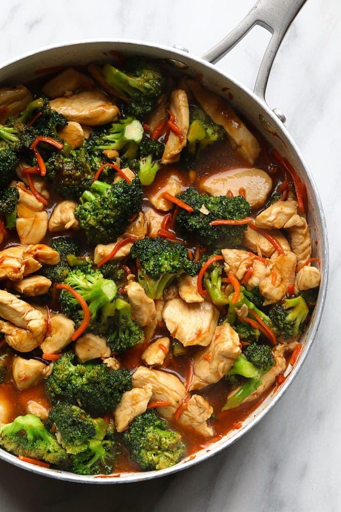 chicken stir fry in pan