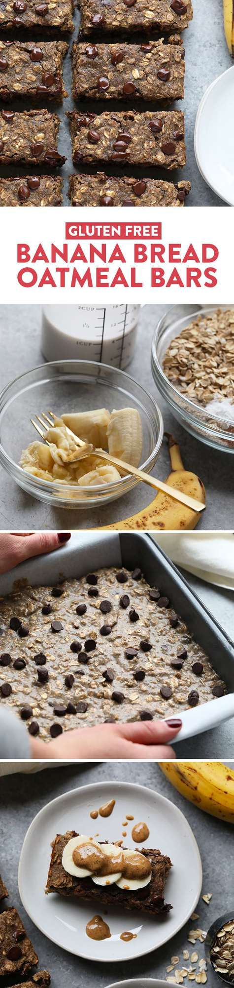 It's time to kick the refined grains and sugar and make these delicious Gluten Free Banana Bread Oatmeal Bars! They're made with a mixture of ground oat flour and buckwheat flour and sweetened with banana and honey.