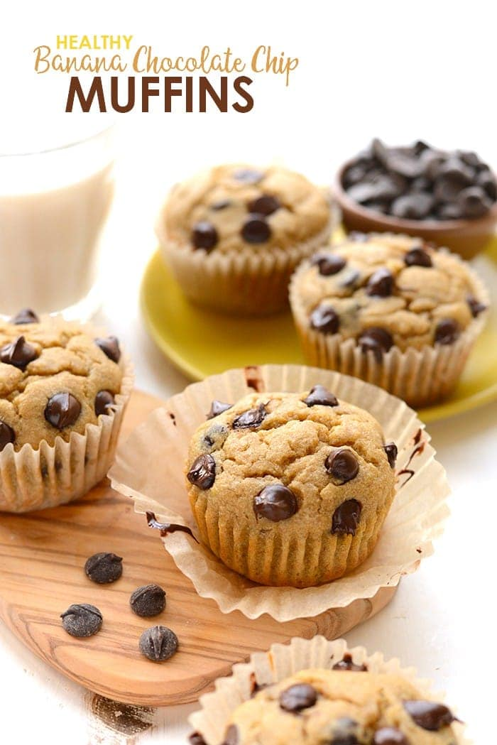 Healthy banana chocolate chip muffin baked and ready to eat.