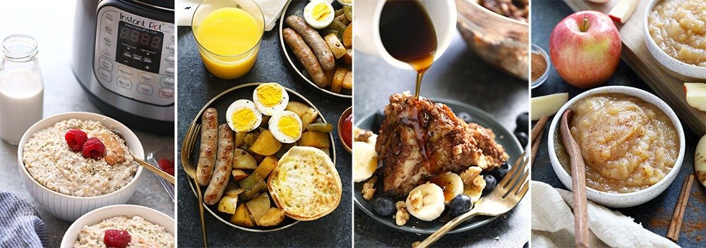 A collage of Instant Pot breakfast recipes
