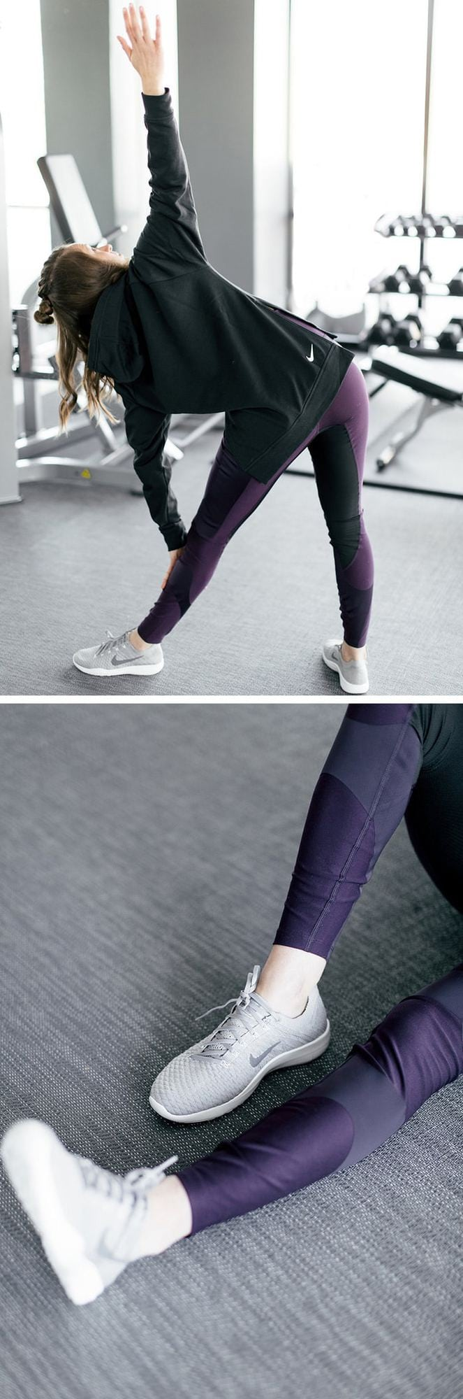 Need to go from the gym to run errands? You'll love these high-rise purple pants paired with a sleek black hoodie with simple side slits! Don't forget about Nike's classic Frees. We chose grey because they go with everything!