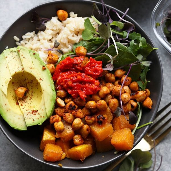 a healthy butternut squash buddha bowl