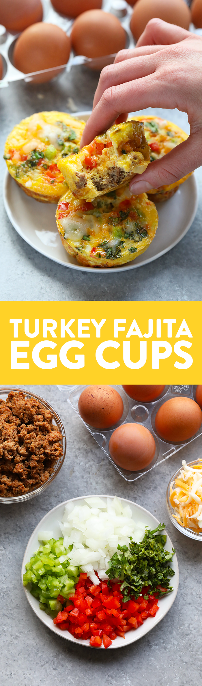 These turkey fajita egg cups are made with lean ground turkey, colorful green and red peppers, onions, and your favorite fajita spices! Don't forget about the cheese on top.