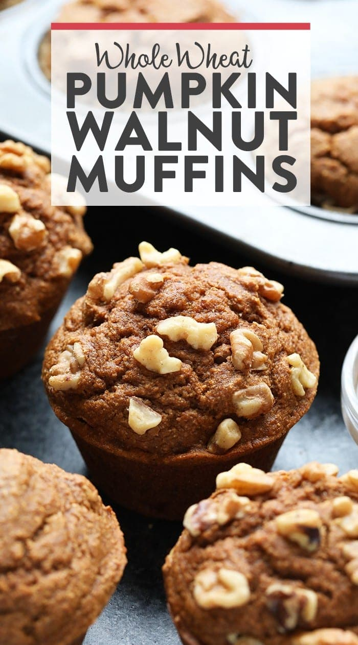 Whole wheat pumpkin walnut muffin next to a muffin tin.