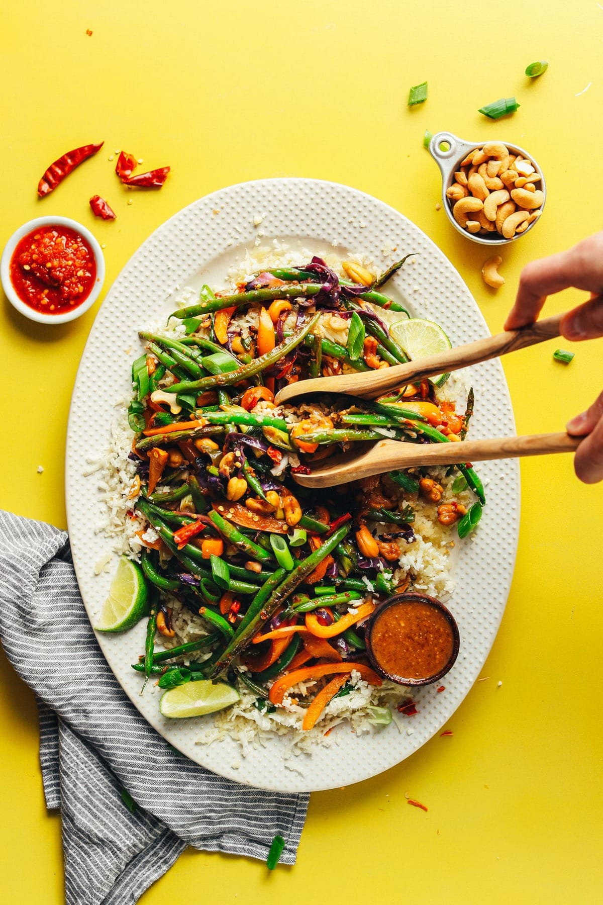 Easy, flavorful, satisfying cauliflower rice stir-fry ready in just 30 minutes! Vegetable-rich, studded with roasted cashews, grain-free!