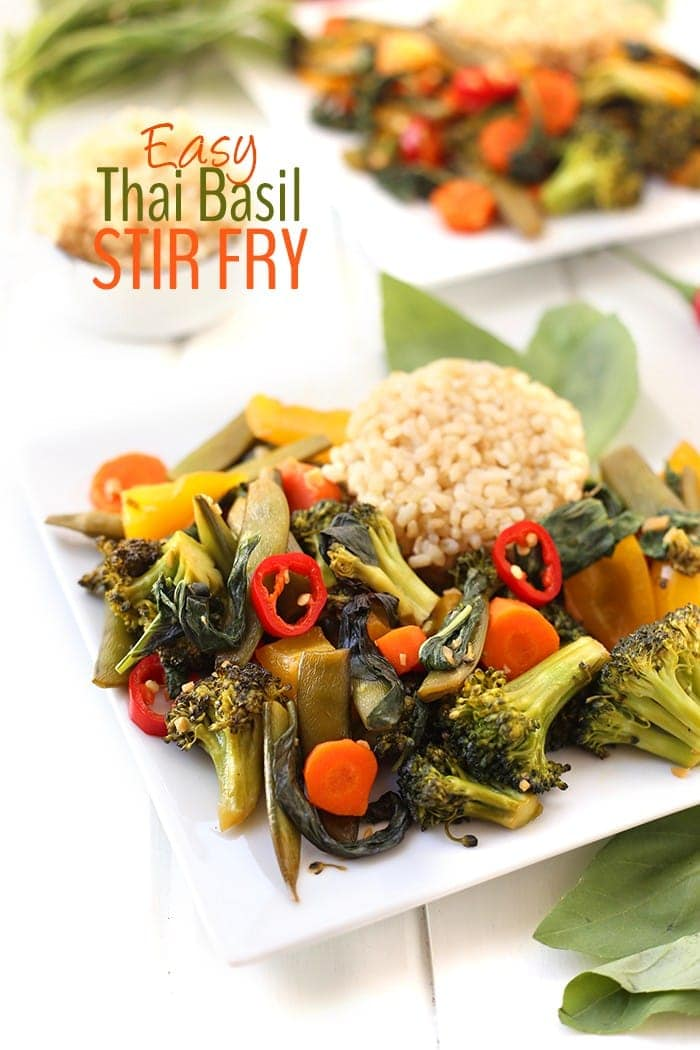 Need dinner in a hurry? This Easy Thai Basil Vegetable Stir Fry makes a hearty, but veggie-packed meal for those nights when you're low on time and energy.