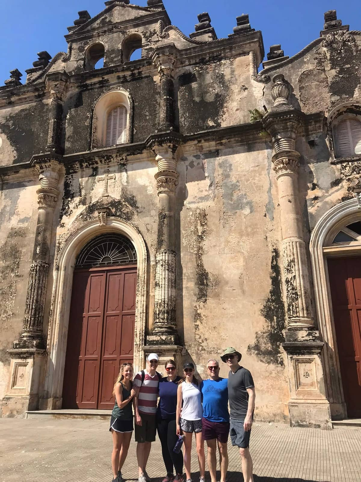 People in front of a church.