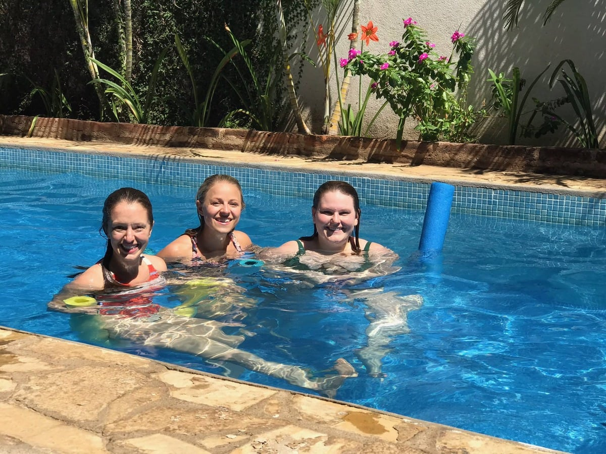 Girls in a pool.