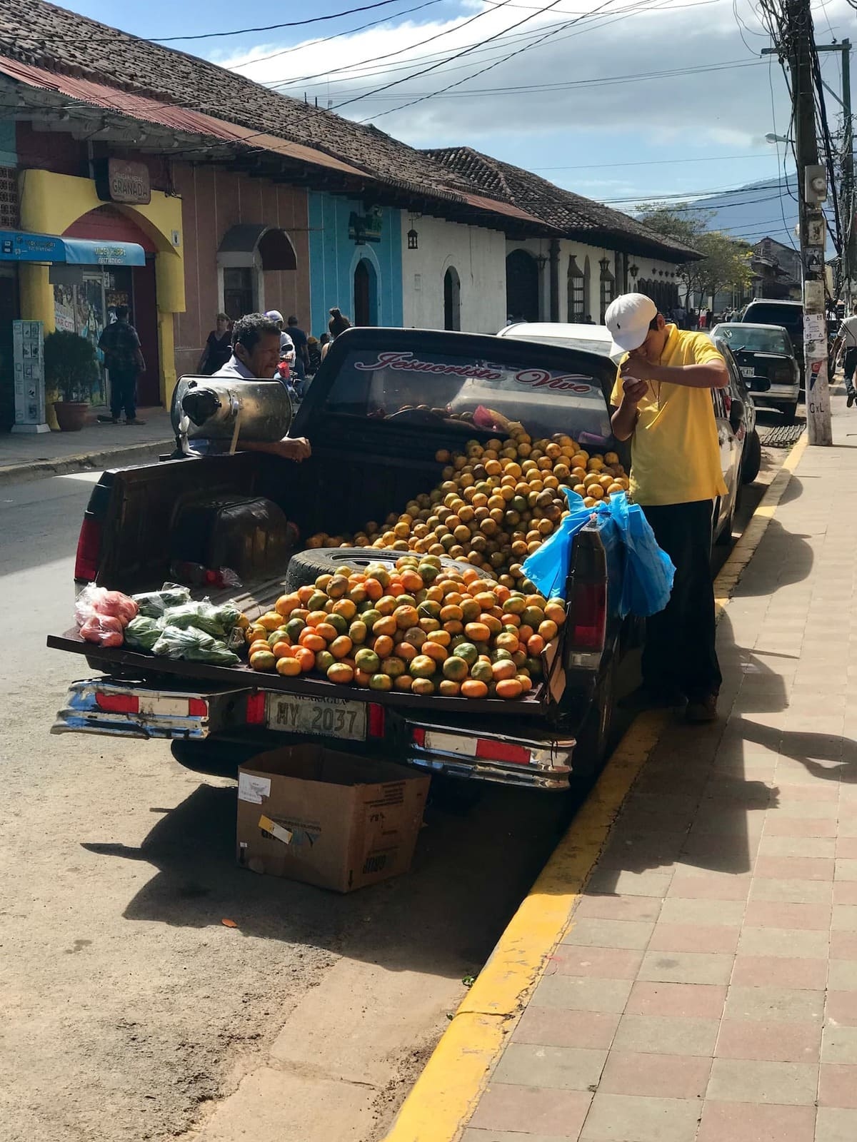 Truck full of oranges.