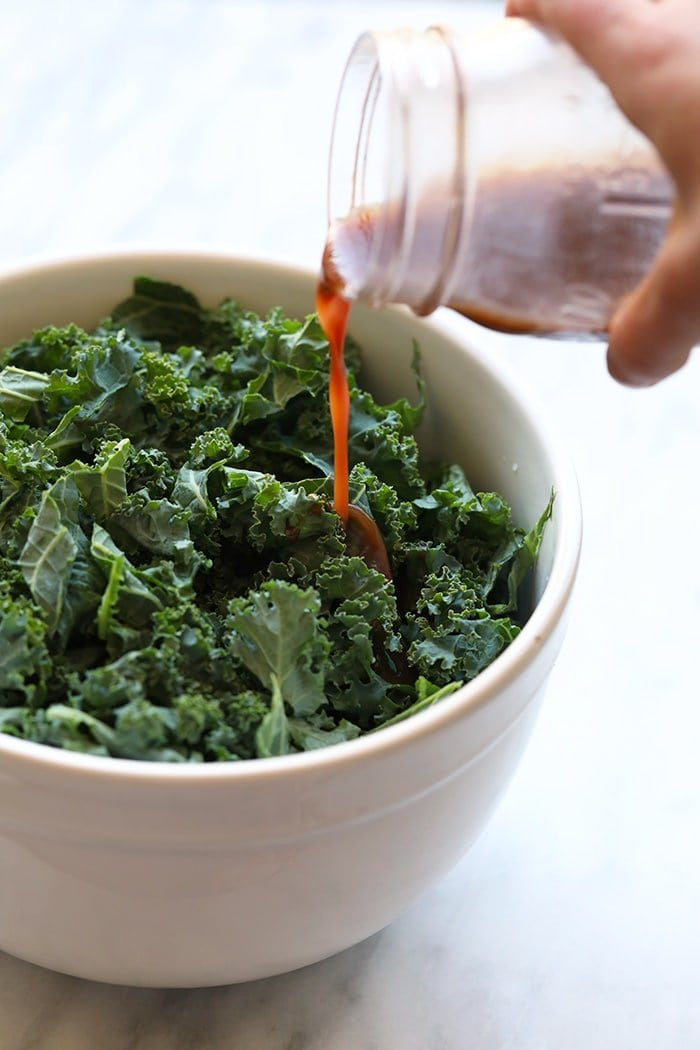 salad dressing on kale