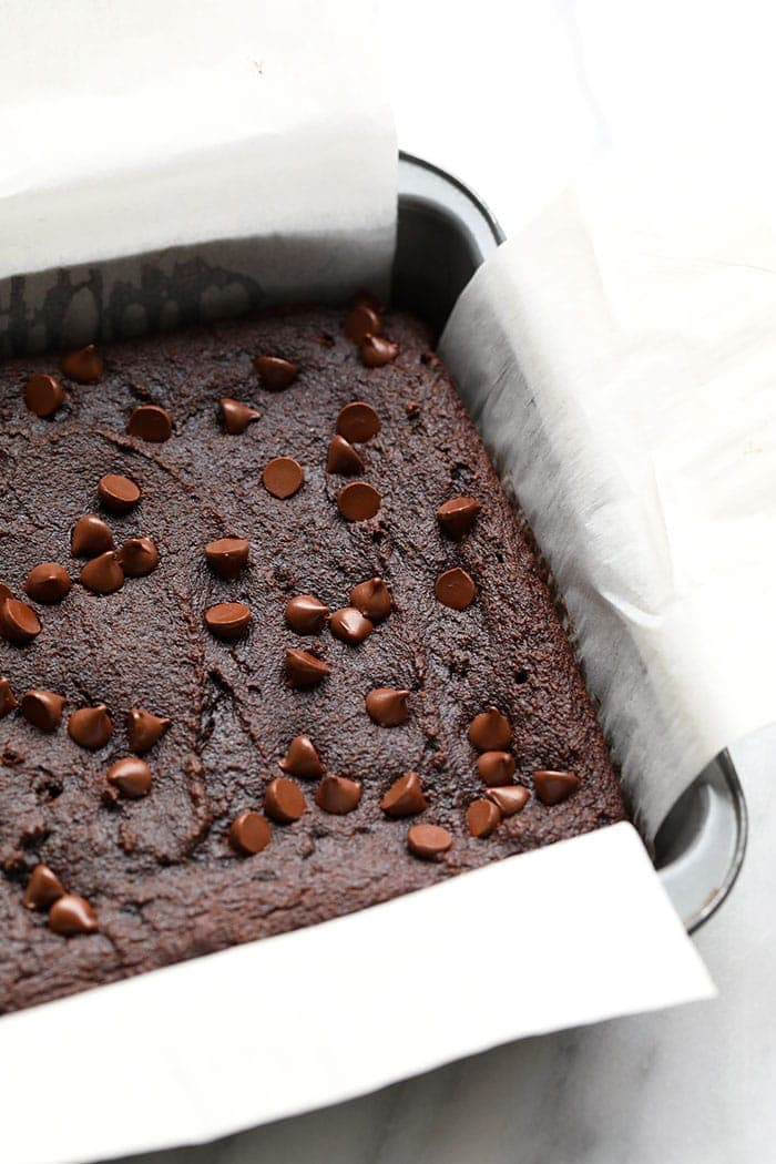 Baked brownies in a pan