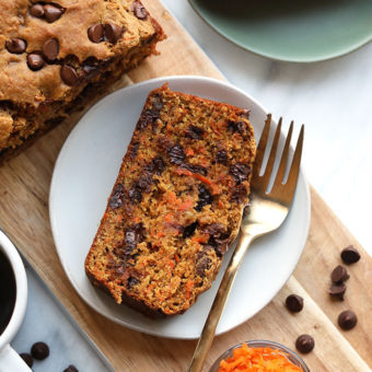 Healthy Chocolate Chip Carrot Cake Loaf {VIDEO}