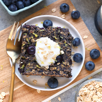 The Most Delicious Lemon Blueberry Vegan Baked Oatmeal Recipe {VIDEO}