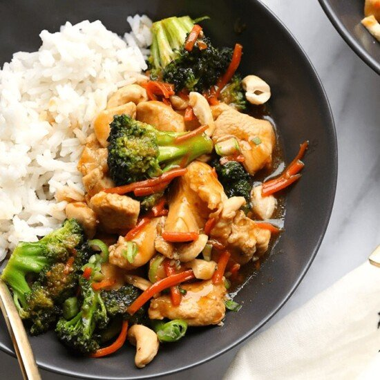 chicken stir fry in bowl