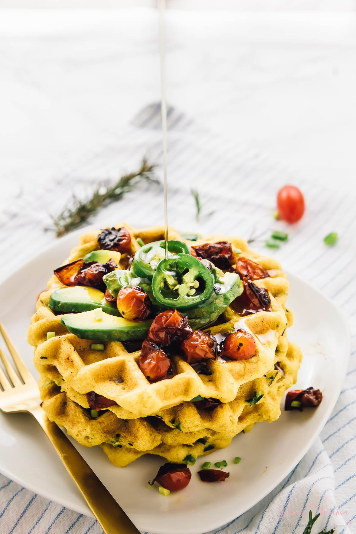 Jalapeño Cornbread Waffles with Roasted Garlic and Rosemary
