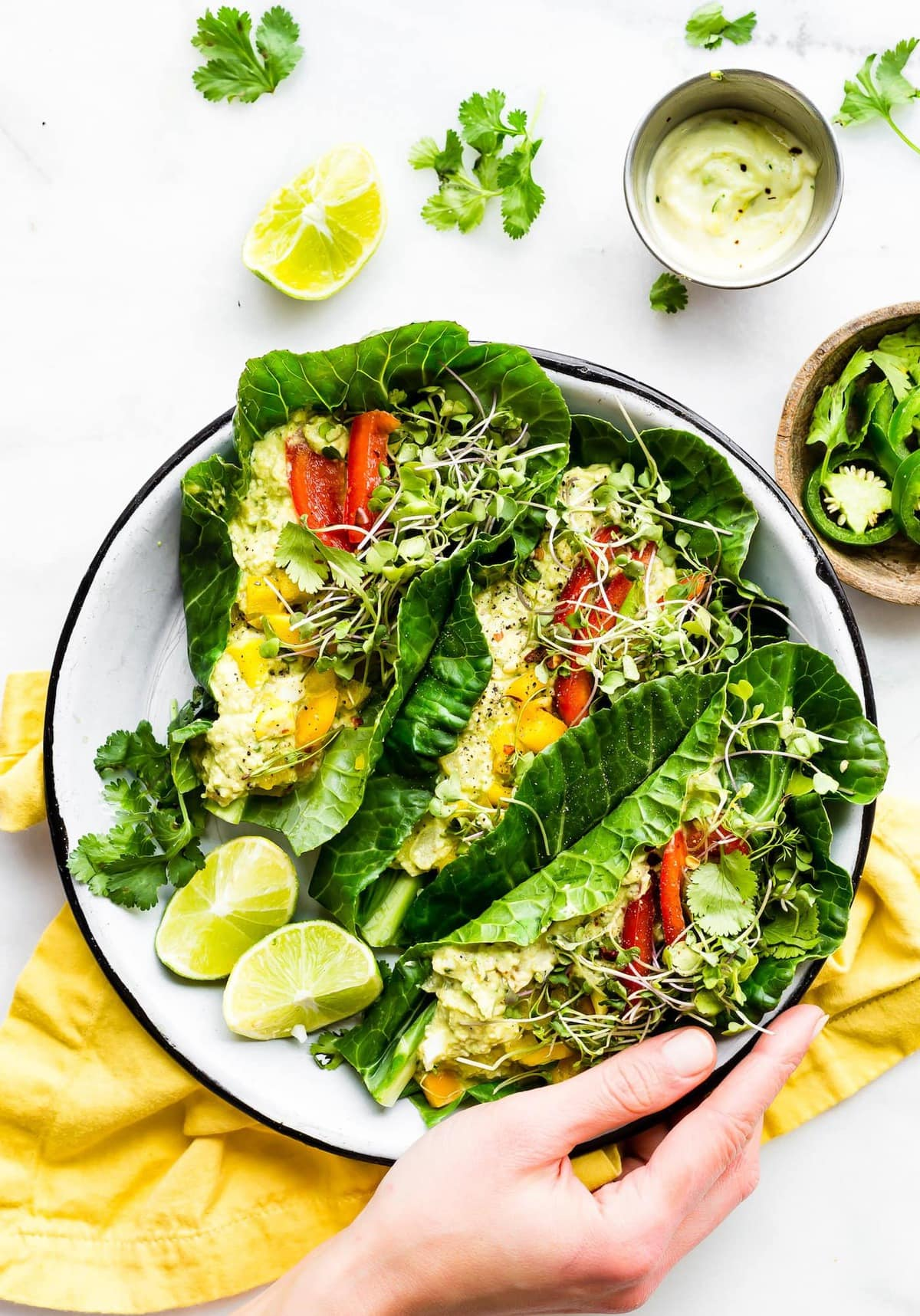 Mexican Avocado Egg Salad Collard Green Wraps