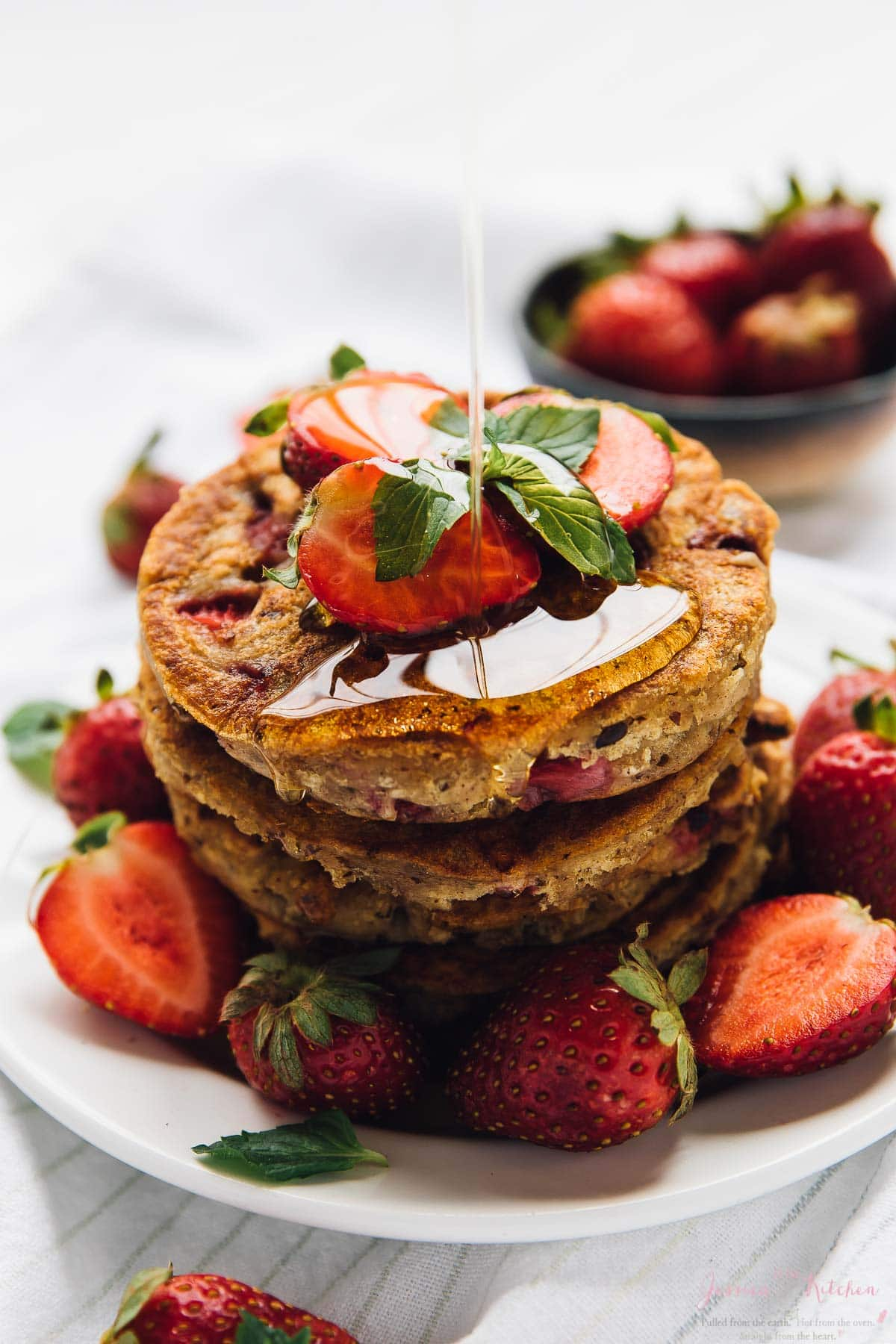 Gluten Free Vegan Strawberry Pancakes