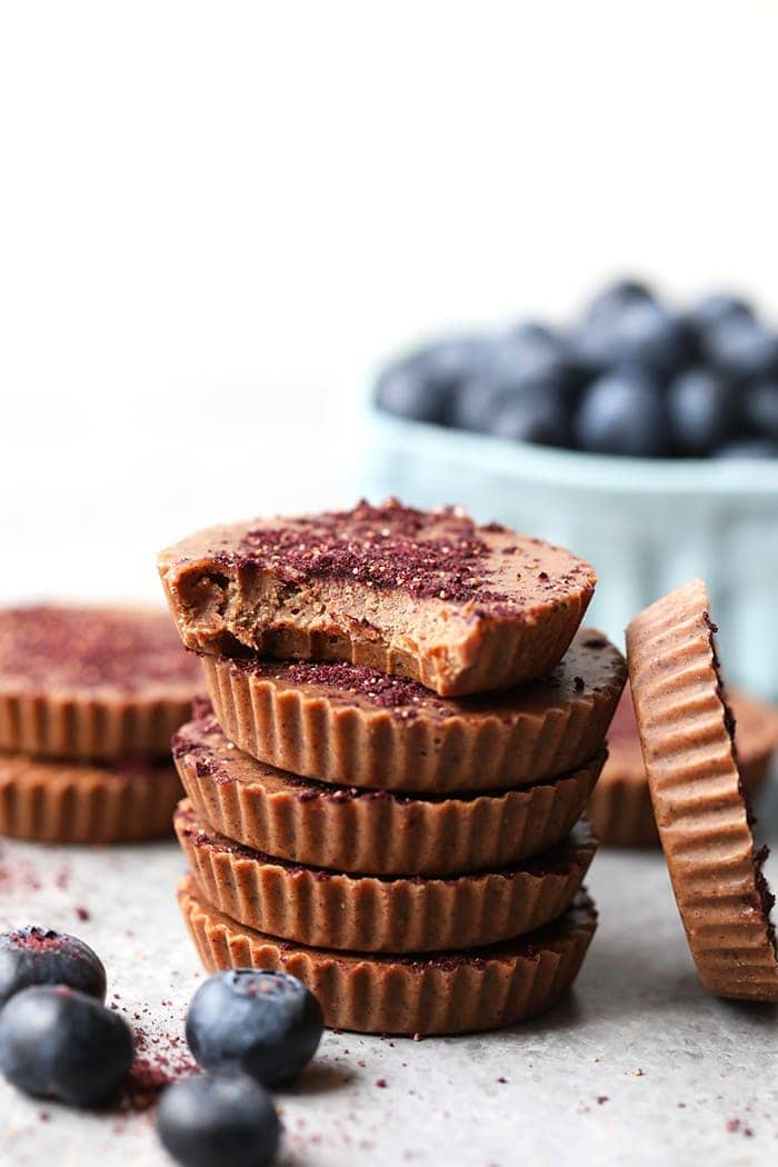 Stack of blueberries and cream cashew butter cups.