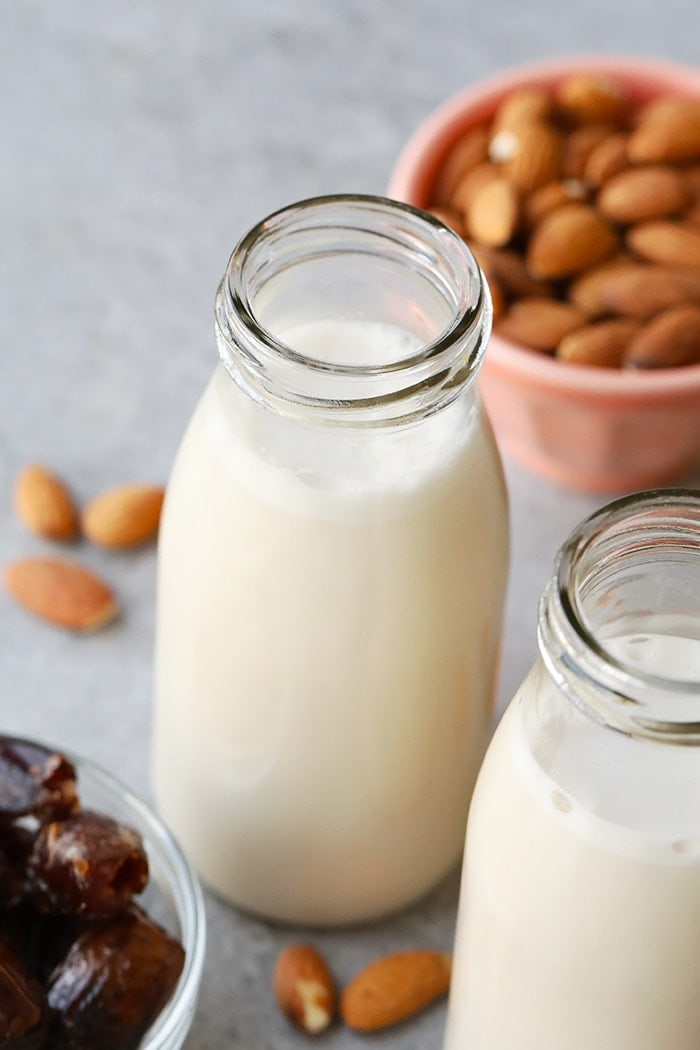 homemade almond milk in a jug ready to be served