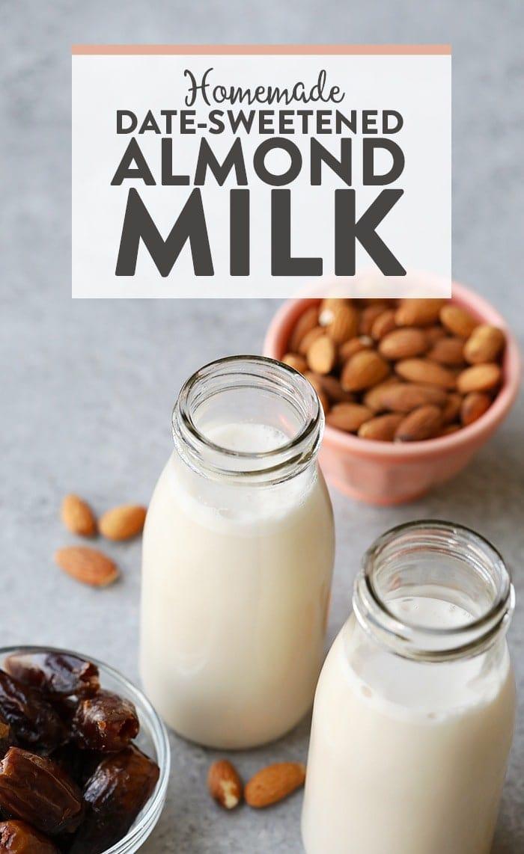 homemade almond milk in a jug