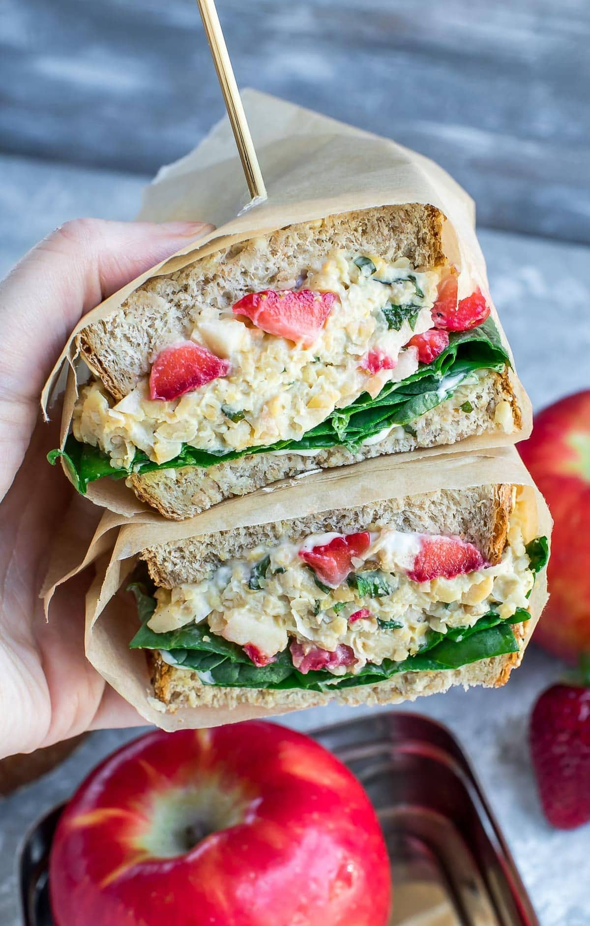 Strawberry Basil Chickpea Salad Sandwhich