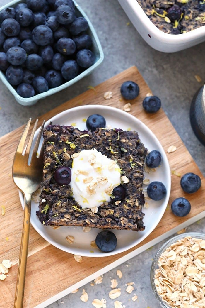 Lemon Blueberry Vegan Oatmeal Bake