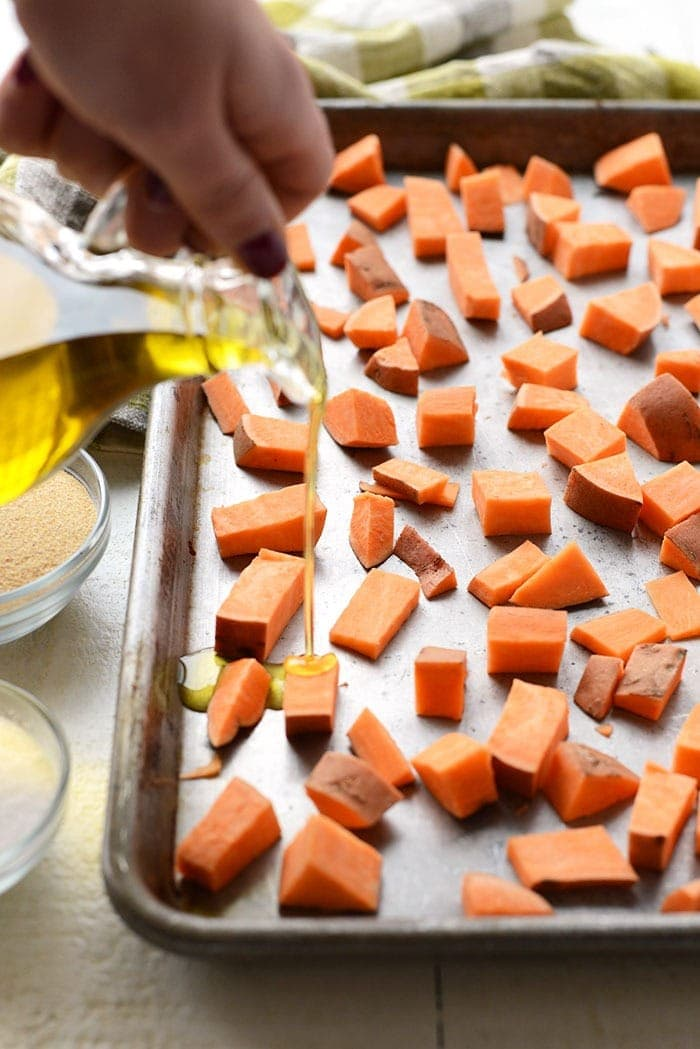 cubed sweet potatoes with olive oil