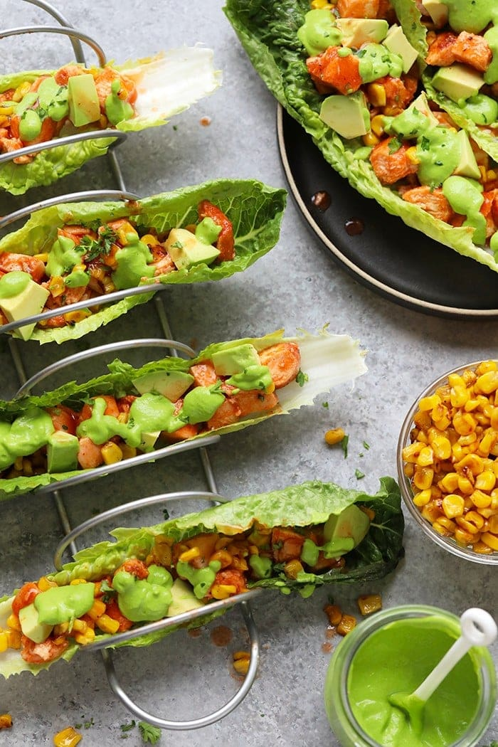 Healthy buffalo chicken lettuce wraps prepped and ready to serve.