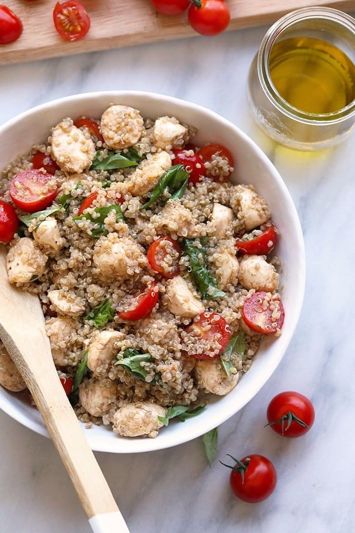 fresh caprese quinoa salad in a bowl ready to be served