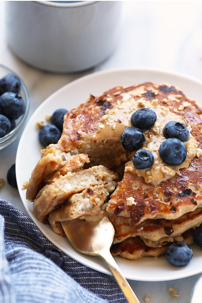 Cottage Cheese Protein Pancakes for the win! Who's with me? If you're all about healthy pancakes and getting a protein boost at the same time then you will love this protein pancake recipe! They're made with 100% ground oat flour, cottage cheese, and mashed banana.