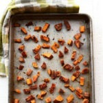 cubed sweet potatoes on pan