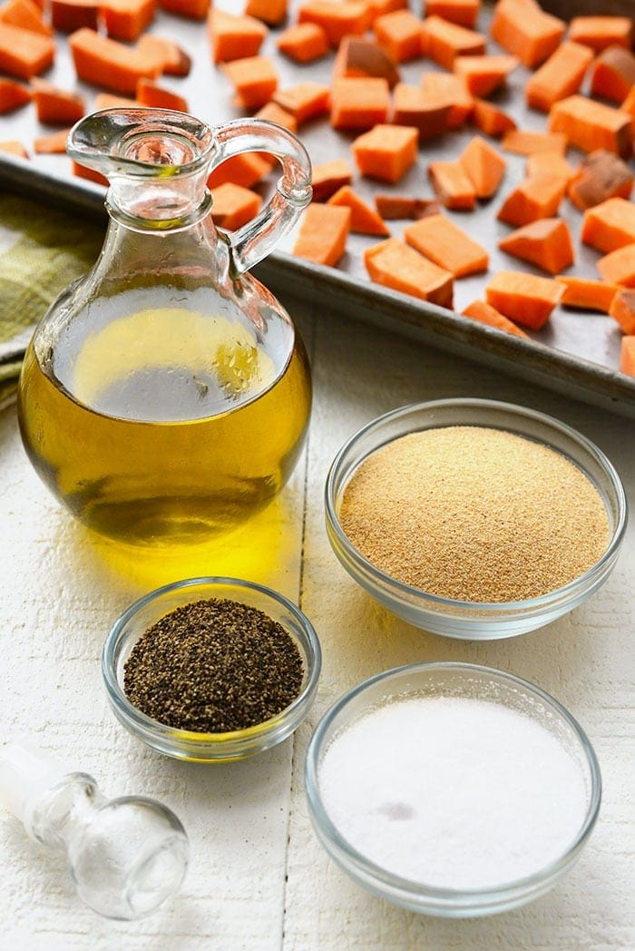 spices, olive oil, and sweet potatoes