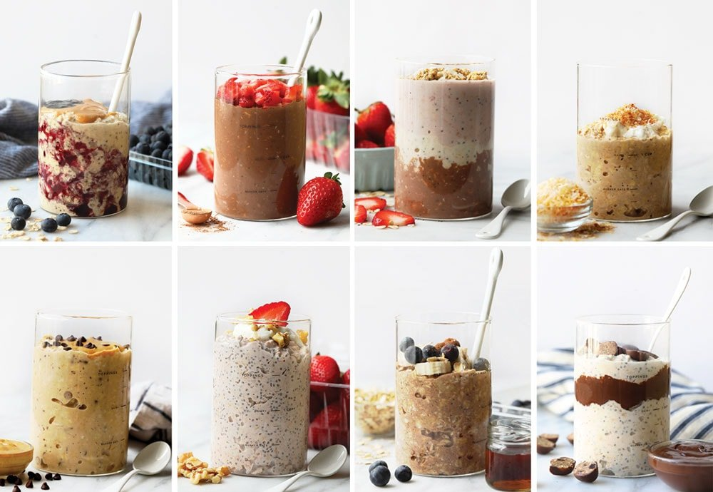 8 flavors of overnight oats