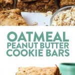 These Oatmeal Peanut Butter Cookie Bars are about to change your life. They're gooey, on the healthier side, and kid-friendly! We used all natural sugar (hey, maple syrup!), white whole wheat flour, rolled oats, and all-natural peanut butter to keep these bar cookies as whole as possible.