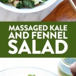 This massaged fennel and kale salad with lemon vinaigrette is the absolute perfect salad. All you have to do is massage your kale, chop your ingredients, and toss it with your vinegarette! It is a great salad for meal-prep throughout the week. Trust me, you'll never look at kale the same way again!