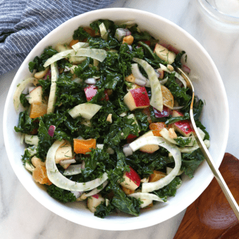 Massaged Kale and Fennel Salad with Lemon Vinaigrette