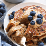 Cottage Cheese Protein Pancake for the win! Who's with me? If you're all about healthy pancakes and getting a protein boost at the same time then you will love this protein pancake recipe! It's made with 100% ground oat flour, cottage cheese, and mashed banana.
