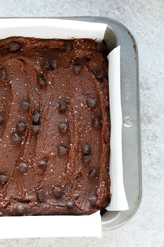 Brownie batter in a pan