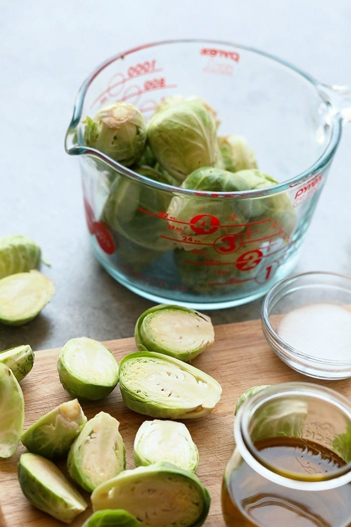 Chopped brussels sprouts on a cutting board