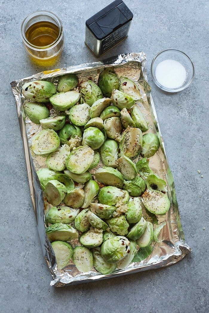 Brussel sprouts on tin foil