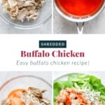 Buffalo chicken in a bowl and on a lettuce wrap