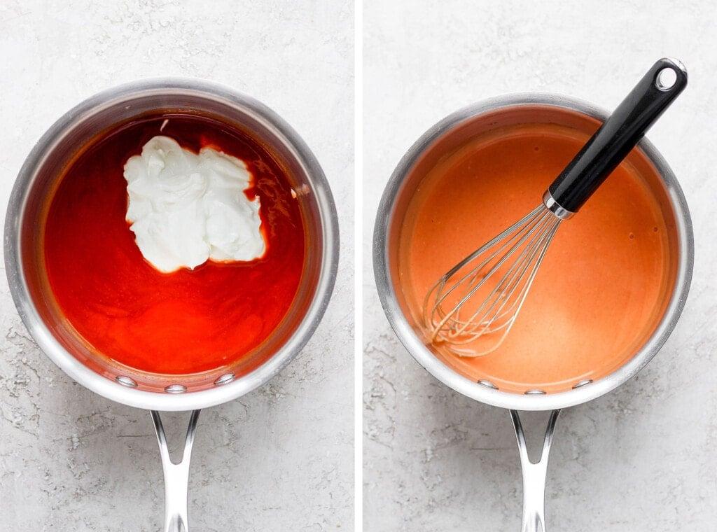 Buffalo sauce and Greek yogurt in a saucepan.