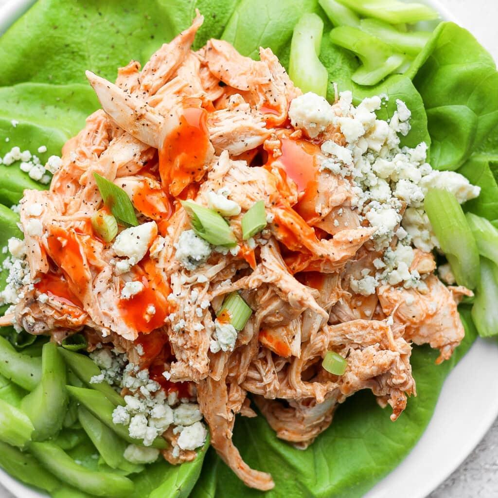 Buffalo chicken in lettuce wraps.